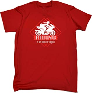 Funny Novelty Tee - Moto Riding is My Drug of Choice Mens T-Shirt