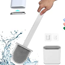Toilet Brush with Slim Holder Silicone Flex Toilet Brush Anti-drip Set Toilet Bowl Cleaner Brush,No-Slip Long Handle Soft ...