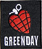 Aufnaher GREEN DAY HEART GRENADE Heavy Metal Rock Punk Music Band Logo Polo T shirt Patch Sew Iron on Embroidered Badge Sign Costum Size 2.5'Width X 3'Height