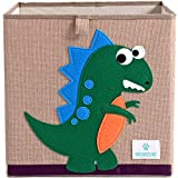 BEARCUBS Cube Storage Bins Foldable Animal Fabric Organizer Toy Box 13 inch Toy Chest for Cubby Organizer in Kids Room Nursery for Boys and Girls (Dinosaur)