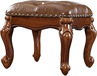 ottoman foot stool upholstered footrest wood stool faux brown leather ottoman coffee table for living room bench(size:15 3/4 X 13 X 12 1/2