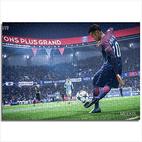 Zeo Qi Lin Zou Rompecabezas clásico Infantil 38x26cm de Madera Juego de fútbol de 300 Piezas, Juego Familiar de Ocio y Entretenimiento para el Jugador número 10 Que Juega al fútbol