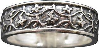 Anello fiore in argento sterling 7mm largo solido punzonato 925 fatto a mano