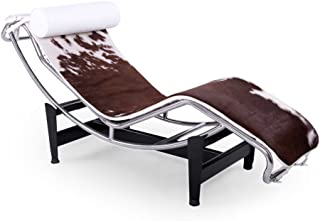 Kardiel Gravity Chaise Lounge, Brown & White Cowhide, White Pillow
