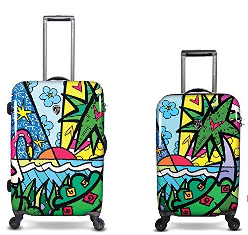 Kofferset, Gepäckset, Reisegepäck by Heys - Premium Designer Hartschalen Kofferset 2 TLG. - Künstler Britto Palm Handgepäck + Koffer mit 4 Rollen Medium