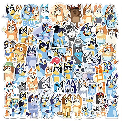 Bluey Stickers for Water Bottles 52 Pcs Waterproof Aesthetic Trendy Stickers for Teens Kids Girls and Boys, Perfect for Laptop Notebook Tablet Phone Car Travel Extra Durable 100% Vinyl