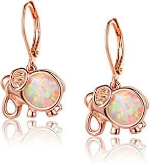 Elephant Earrings Women White Opal Leverback Earring Dangle Jewelry Hypoallergenic Lucky Gifts for Girls
