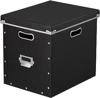 ナカバヤシ 収納ボックス ストックボックス フタ付き Lサイズ ブラック FBB-L-BK