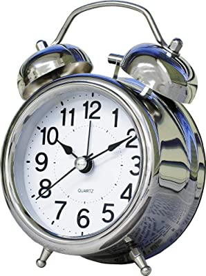 目覚まし時計ミニツインベル 連続秒針 ベル音 イト 単三1本 PT254SV