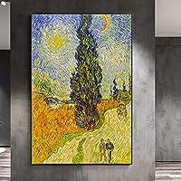 ヒノキと星のあるジクレーロードゴッホ著有名な絵画キャンバスポスターとプリント壁アートリビングルームの装飾写真-60x90cmフレームなし