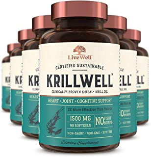 KrillWell Heart, Joint, and Cognitive Support | Certified Sustainable, Clinically-Proven K-Real Krill Oil 2X More Effective Than Fish Oil - 180 Day Supply