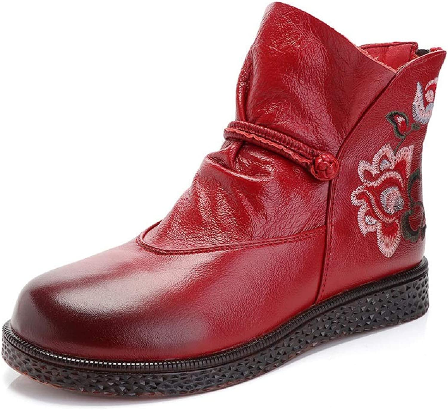 LingGT Embroidery Women Boots Leather Flower Soft Flat shoes