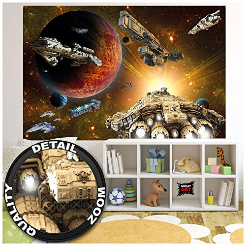 GREAT ART XXL Poster Kinderzimmer – Galaxy Adventure – Wandbild Dekoration Raumfahrt Mission Shuttle Science Fiction Raumschiff Weltraum All Stern Wandposter Fotoposter Wanddeko(140 x 100 cm)