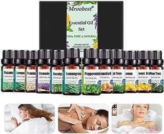 Aceites Esenciales, Essential Oils Set, 100% Natural Puro Aromaterapia Aceite Aromático, para Humidificador, Difusor Aroma, SPA, Masajes, Relajarse(12 x 10 ml)