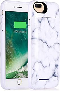 iPhone 8 Plus Battery Case, iPhone 7 Plus, iPhone 6 Plus Backup Charging Case White Marble Design - 4500mAh Ultra Slim Extended Battery Charger Pack Power Bank - White