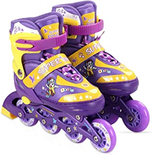 Zeroall Patín en Línea para Niños y Adolescentes Patín de Ruedas Ajustable Roller Blades con Luminoso PU Ruedas Excelentes Regalos para Niño y Niña