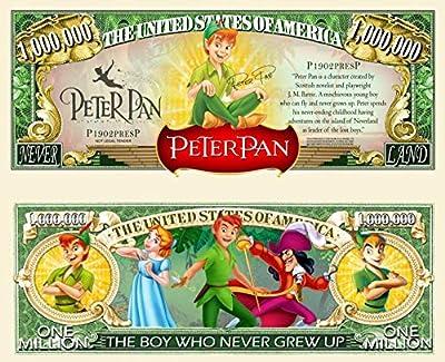 Peter Pan Neverland Hook Lost Boys Animation Commemorative Novelty Million Bill with Semi-Rigid Bill Protector