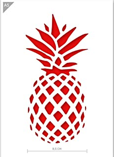 Qbix Pineapple Stencil - Pineapple Template - DIY Pineapple Art - A5 Size - Reusable Kids Friendly DIY Stencil for Painting, Baking, Crafts, Wall, Furniture