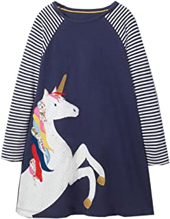 Girls Cotton Long Sleeve Casual Cartoon Appliques Striped Jersey Dresses