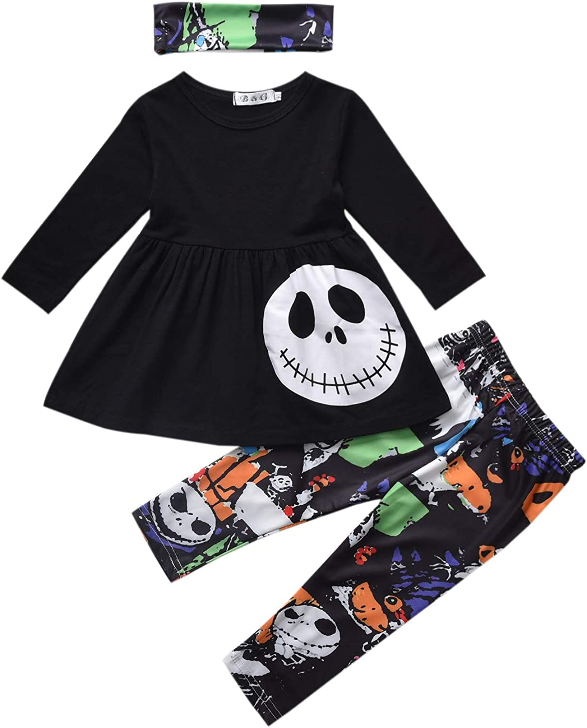 3PCS Baby Girls Halloween Outfits Skull Tops Ghost Leggings Pants with Csarf Hat Clothes Set