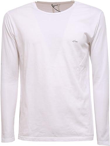 OFFICINA36 0162Z Maglia hommes blanc manche longue t-Shirt Cotton Man