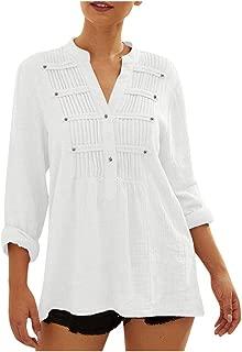 LEKODE Women T-Shirts Fashion Solid V-Neck Long Sleeve Tops