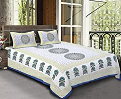 Bhagwatiudyog Block Print Cotton Double Bedsheet with Pillow Cover , King Size , Multicolour