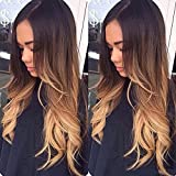 (50cm ) - 3 Tone Colour Human Hair Ombre Lace Front Wigs Virgin Human Hair Wigs With Baby Hair for Black Women Lace Front Wig Ombre(1B/4 30))50cm