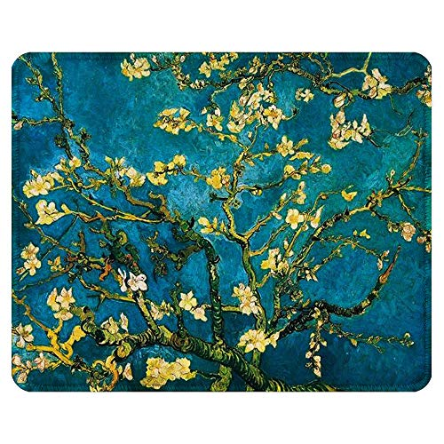 BOSOBO Mouse Pad, Art Design Blossoming Almond Tree Mouse Mat, Anti Slip Floral Mousepad for Desktop, Computer, PC and Laptops, Customized Mouse Pad for Office and Home, Rectangle 10.2 x 8.3 Inch