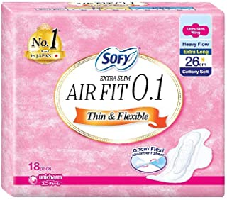 Sofy Body Fit Extra Slim 0.1 Day 26cm Wing 18s, 18 count