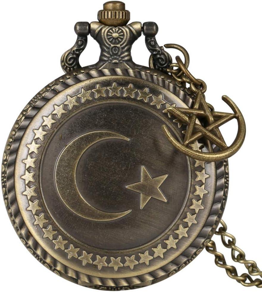 ZHAOXIANGXIANG Reloj De Bolsillo,Retro Bronce Turquía Bandera Diseño Luna Estrella Círculo Cuarzo Antiguo Reloj De Bolsillo Punk Collar Colgante para Hombres Mujeres