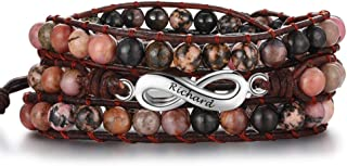 Tian Zhi Jiao Adjustable Multi-Layer Bead Bracelets for Men Engraved Infinity Name Bracelets Personalized Wrap Bracelets for Women