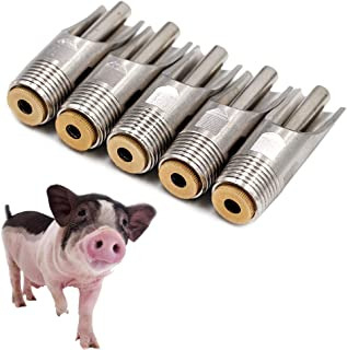 """LA Stainless Steel NPT 1/2"""" Automatic Pig Nipple Drinker Feeder Waterer for Sows Piglets Drinking (Pack of 5)"""