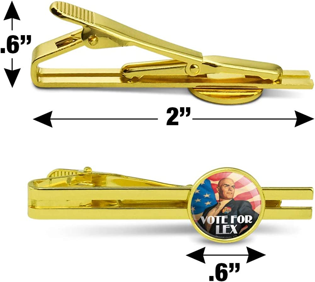 GRAPHICS & MORE Superman Vote for Lex Round Tie Bar Clip Clasp Tack Gold Color Plated