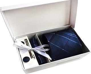 MENDENG Men's Royal Blue Plaid Necktie Suit Tie Clip Pocket Square Cufflinks Set