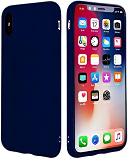 iEugen Compatible with iPhone Xs Max Case Soft Grip Matte Finish Frame Clear Back Panel Ultra-Thin [Slim Fit] Cover for iPhone Xs MAX 6.5 Inch 2018 (Dark Blue)