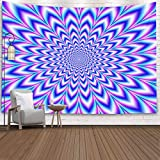 Teepel Tapestry Wall Art, Cut Pulse Blue Pink Violet Digital Abstract Fractal Image Challenging Psychedelic Blue Pink Violet a Wall Hanging Tapestry for Living Room Decor,Yellow Green