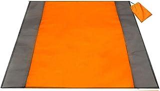 HUI JIN Couverture de plage imperméable et anti-sable pour adultes - Tapis surdimensionné orange