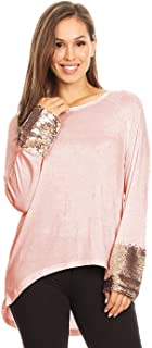 Women's Sequin Cuff Blouses Long Sleeve Rose Gold Embellished Sparkle Tunic Top Shirts