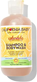 California Baby Calendula Shampoo and Body Wash - Hair, Face, and Body | Gentle, Allergy Tested | Dry, Sensitive Skin, 8.5 Ounce