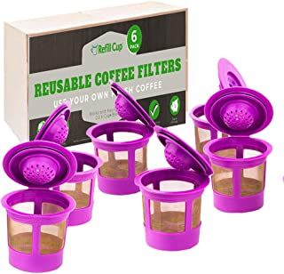 Refill Cup - Reusable Refillable K Cup Filter - Compatible with Keurig 1.0 and 2.0 (6 Pack)