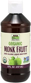 NOW Foods, Certified Organic Monk Fruit Liquid, Zero-Calorie Liquid Sweetener, Non-GMO, Low Glycemic Impact, 8-Ounce