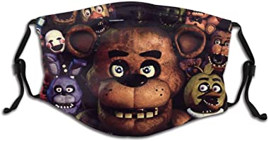 Stwvanerll Five Nights Kids Masks Adjustable Washable Reusable Dust Protection for Boys and Girls FNAF Bandana Include 2 PM2.
