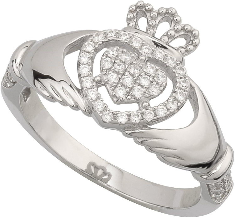 Claddagh Ring Sterling Silver & CZ Irish Made Sz 6.5