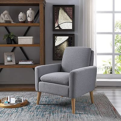 Lohoms Modern Accent Fabric Chair Single Sofa Comfy Upholstered Arm Chair Living Room Furniture