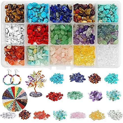 Perline di Pietre Preziose, Pietre Miste Irregolare,pietre per bigiotteria fai da te,Perline Pietra Naturale,Perline semipreziose,Perline di Pietre Colorate per Creazione di Gioielli Fai da Te