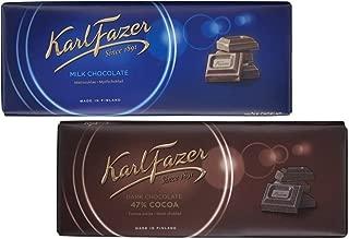 Karl Fazer Blue Original Milk Chocolate Bar and 47% Dark Chocolate Bar - 200 g / 7.05 oz each