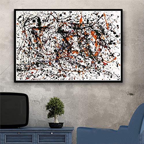 tgbhujk Jackson Pollock Abstrakte Kunst Poster Leinwand Malerei Wandbild Home Decor Poster und Drucke 42x60 cm Ohne Rahmen