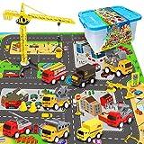 RuiDaXiang Ensembles de Jouets pour Voitures de Construction d'ingénierie, avec Tapis de Jeu, camions Jouets, Mini-Ensemble de Jeu pour Voitures de recul