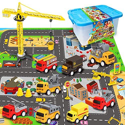 RuiDaXiang Engineering Baufahrzeug Spielzeug-Spielzeugautos Sets, mit Stadt Game Pad, Lastwagen Autos , Mini Pull Back Cars Spielset, Spielzeug Geschenk für Jungen, Mädchen, Kinder & Kleinkinder